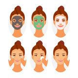 Types of Face Masks. Different types of face masks, cleansing, moisturizing, whitening. Instructions for using the mask. Vector illustration royalty free illustration