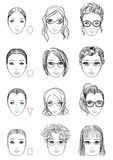Types of face shape Stock Image