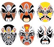 Types of facial make-up in Beijing opera set eleve stock image
