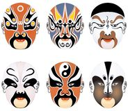 Types of facial make-up in Beijing opera set one Stock Photos