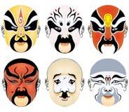 Types of facial make-up in Beijing opera set six stock photo