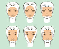 Types of female face shapes Stock Photo