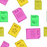 Types of files pattern, cartoon style. Types of files pattern. Cartoon illustration of types of files vector pattern for web Stock Photos