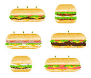 Types and flavours of Sandwiches. Illustrations of different types and flavours of sandwiches, with lettuce, meat, ham, cheese, tomatoes and onions Stock Photo