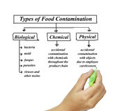 Types of food contamination image for use in manufacturing Royalty Free Stock Image