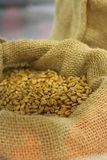types of grain cereals in transparent containers stock images