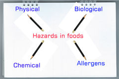 Types of hazards that can be found in food products Royalty Free Stock Photo