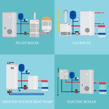 Types of heating systems. Stock Photography
