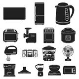 Types of household appliances black icons in set collection for design.Kitchen equipment vector symbol stock web. Types of household appliances black icons in Stock Photos