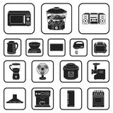 Types of household appliances black icons in set collection for design.Kitchen equipment vector symbol stock web. Types of household appliances black icons in Royalty Free Stock Photo