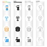 Types of household appliances cartoon black monochrome outline icons in set collection for design.Kitchen equipment. Vector symbol stock illustration Stock Photography