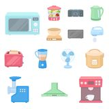 Types of household appliances cartoon icons in set collection for design.Kitchen equipment vector symbol stock web. Types of household appliances cartoon icons Royalty Free Stock Photo