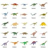 Types icônes signées de dinosaure de nom réglées d'isolement Illustration Stock