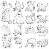 Types icônes réglées, style de singes d'ensemble illustration de vecteur