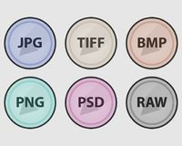 Types of image files. Vector set of colored icons. Set of round icons. Types of image files. Vector set of colored icons Stock Image