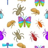 Types of insects pattern, cartoon style Stock Image