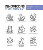 Types of insurance line design icons set. Types of Insurance - modern vector thin line flat design icons and pictograms set. Home, health, life, car, deposit stock illustration