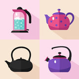 Types of kettles. Vector flat style icons set of different types of kettles with long shadows. Teapot, electric kettle, coffee pot, kettle with boiling water Royalty Free Stock Images
