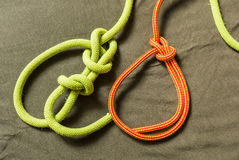 Types knot - Bowline. Types knot - Bowline with security and without stock photography
