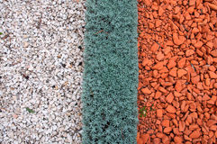 Types of landscaping and decorations garden paths. Gravel 2 colors stripes Stock Photos