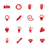 Types of light bulbs for different types of lightings as glyph icons Royalty Free Stock Photo