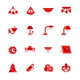 Types of lighting for indoor use as glyph icons Royalty Free Stock Images
