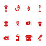 Types of lighting for outdoor use as glyph icons Royalty Free Stock Photography