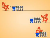 Types of management. Cartoon illustration of different types of management by leaders. leader is screaming and workers are doing Royalty Free Stock Photography