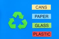 Types of matherial for reycle and reuse. Printed words plastic, glass. cans, plastic near eco symbol recycle arrows on. Blue background top view royalty free stock image