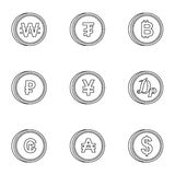 Types of money icons set, outline style. Types of money icons set. Outline illustration of 9 types of money vector icons for web Royalty Free Stock Photo