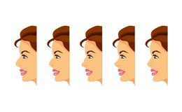 Types of nose. Female face in profile with different types of nose. Vector illustration Stock Image
