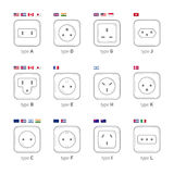 Types Of Sockets Used In The Different Countries. A Version Of Sockets Under The World Standards. Flags Of The Countries. A Set Of Royalty Free Stock Images