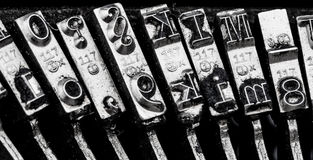 Types of old typewriter. Types and character of an old typewriter. symbolic photo for communication in former times Royalty Free Stock Photo