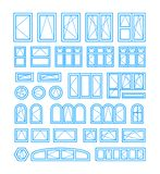 Types of opening and closing windows and doors. Vector illustration. On white background stock illustration