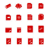 Types of paper and canvases for art as glyph icons Royalty Free Stock Photos