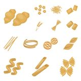 Types of pasta cartoon icons in set collection for design. Figured macaroni for eating vector symbol stock web. Types of pasta cartoon icons in set collection Stock Photos
