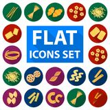 Types of pasta flat icons in set collection for design. Figured macaroni for eating vector symbol stock web illustration. Types of pasta flat icons in set Royalty Free Stock Images