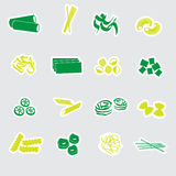 Types of pasta food stickers eps10 Royalty Free Stock Photos