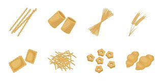 Types of pasta icons in set collection for design. Figured macaroni for eating vector symbol stock web illustration. Types of pasta icons in set collection for Royalty Free Stock Photography