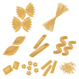 Types of pasta set icons in cartoon style. Big collection of types of pasta vector symbol stock illustration Royalty Free Stock Photos