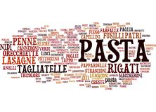Types of pasta text cloud. Horizontal word cloud with different types of pasta Royalty Free Stock Photo