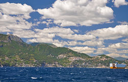 The types of the Peninsula of Sorrento from the sea and a sail c Stock Photo