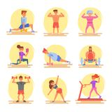 Types of people in the gym. Beginner, muscled, old lady, woman, selfie, press legs treadmill vector illustration