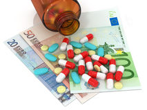 Types of pills lying on euro banknotes and bottle of pills on Stock Images