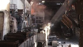 Types of plant shop. View of the metallurgical plant fire liquid metal stock video footage