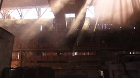 Types of plant shop. View of the metallurgical plant fire liquid metal stock video