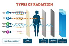 Types of radiation vector illustration diagram and labeled example scheme. Shown how alpha, beta, gamma, neutron and X rays works. Infographic what material stock illustration