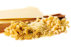 Types of raw pasta Royalty Free Stock Photography