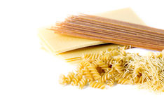 Types of raw pasta Stock Images