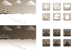 2 types of retro Christmas backgrounds and buttons / icons. Backgrounds and icons / buttons for a card can be a template for greetings, advertisements, banners vector illustration